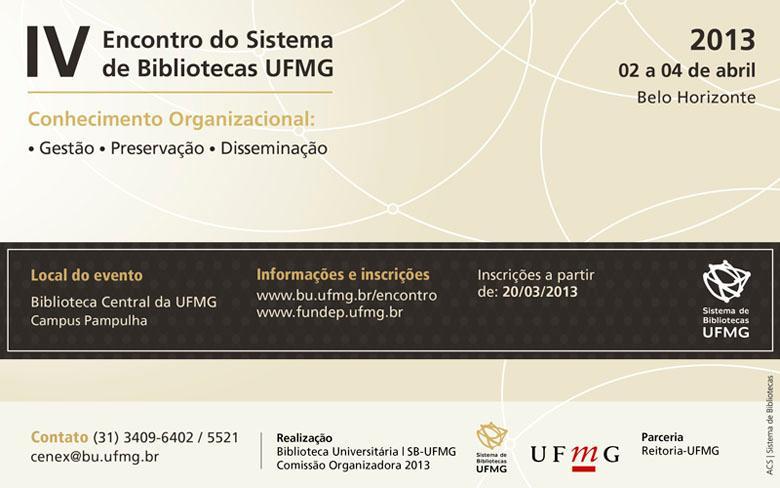 IV Encontro do Sistema de Bibliotecas da UFMG