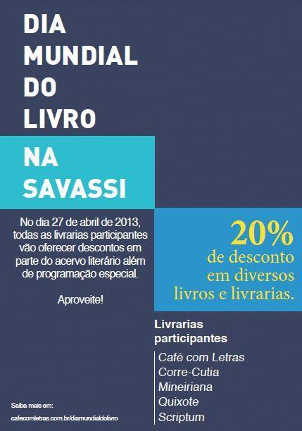 Dia Mundial do Livro nas livrarias da Savassi