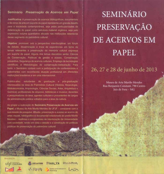 Seminário - Preservação de acervos em papel