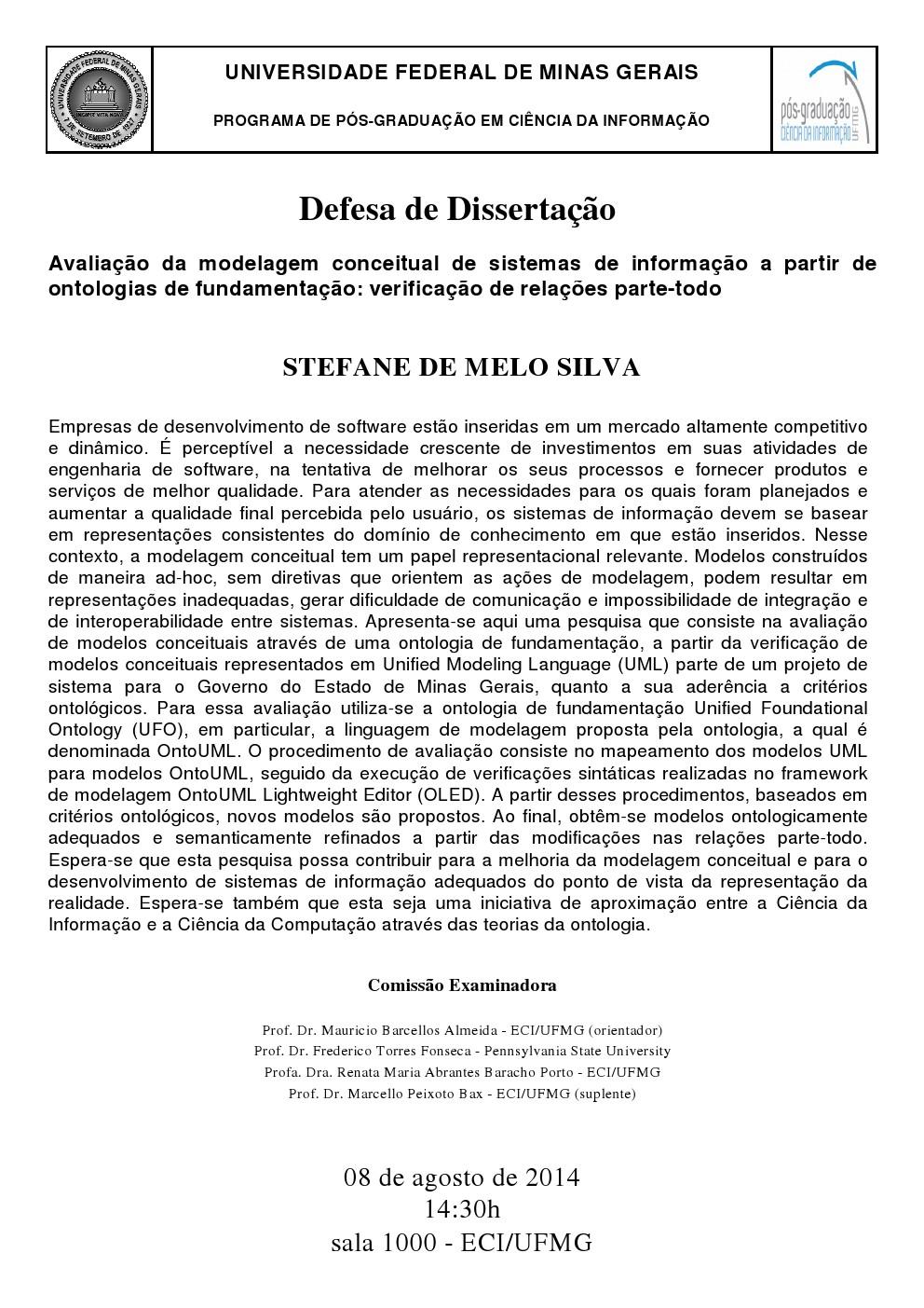 Defesa de Dissertação Stefane