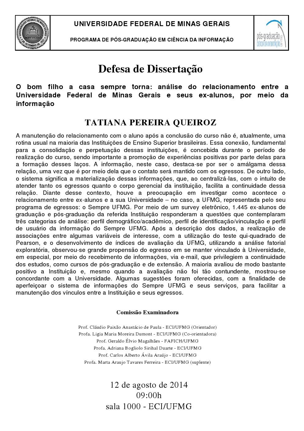 Defesa de Dissertação Tatiana Pereira Queiroz