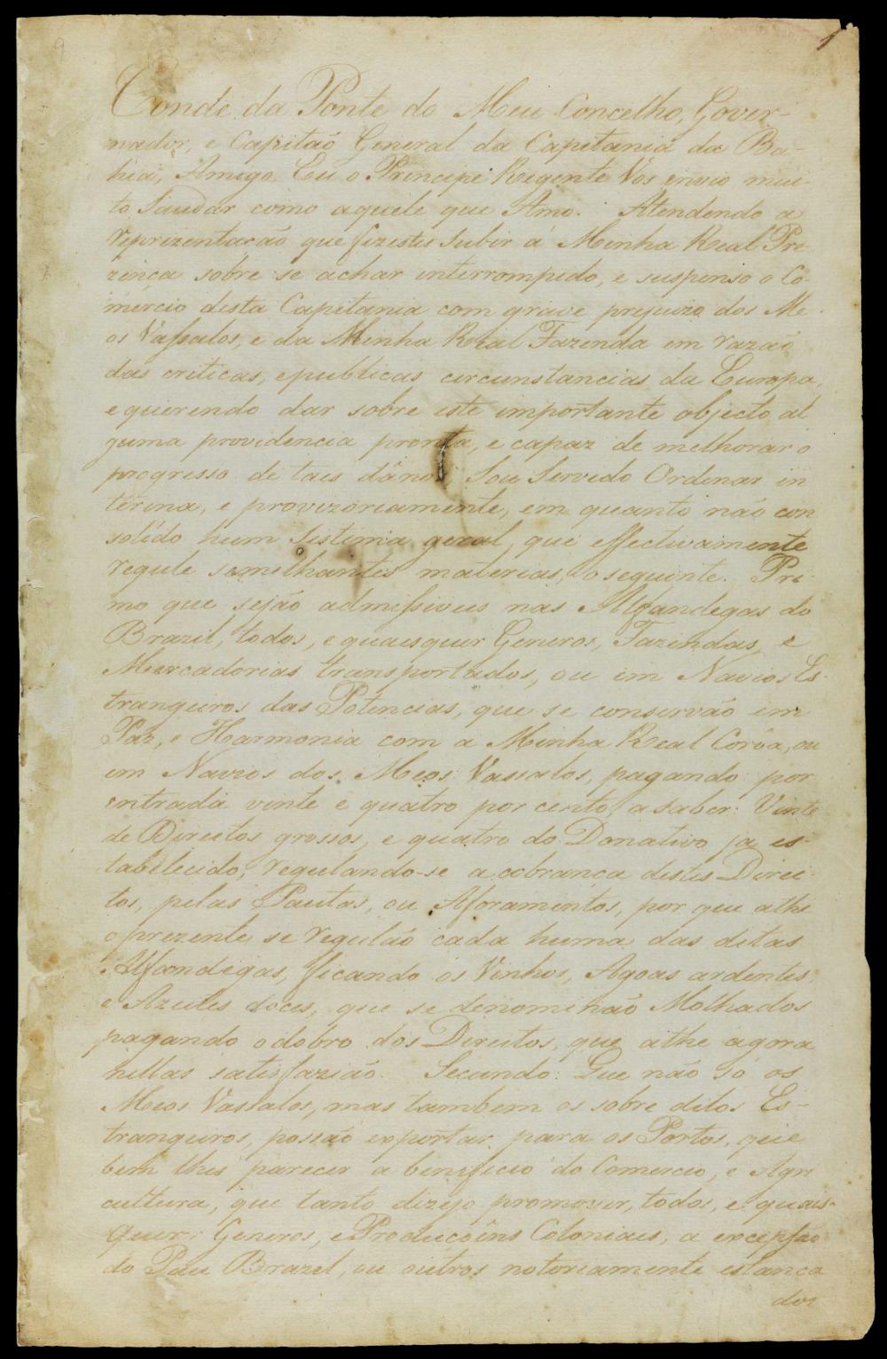 A carta de D. João que abre os portos brasileiros em 1808: um dos documentos disponíveis para consulta na Biblioteca Nacional Digital. (Reprodução)