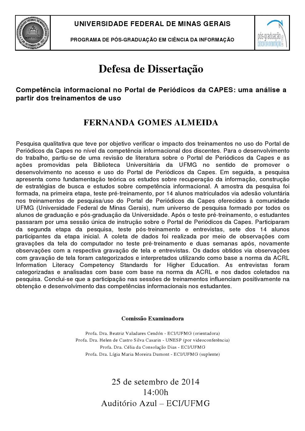 Defesa de Dissertação Fernanda Gomes Almeida