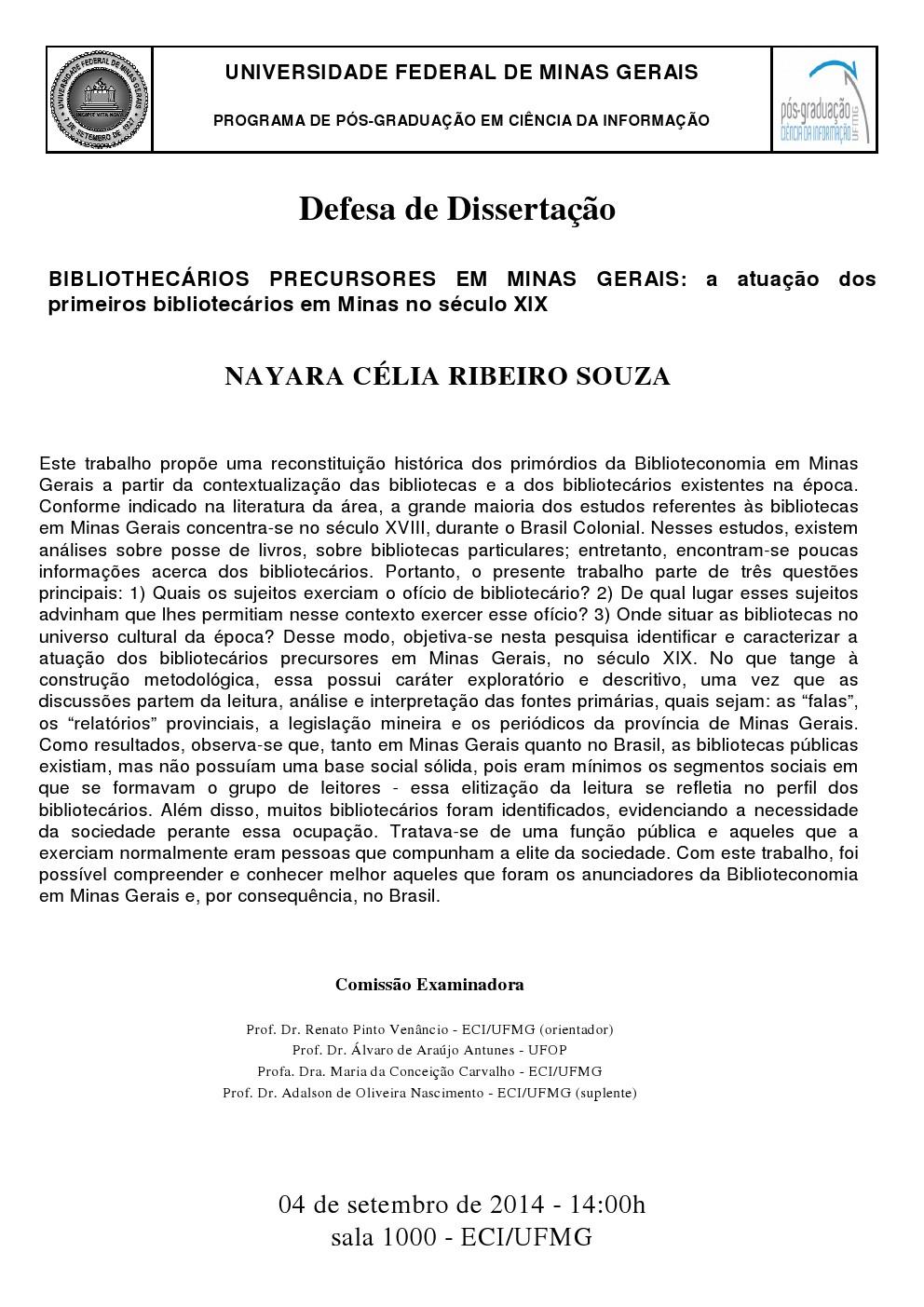 Defesa de Dissertação Nayara Célia Ribeiro Souza