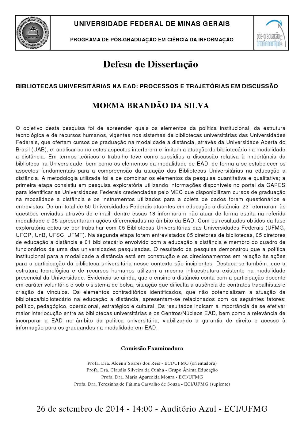 Defesa de Dissertação Moema Brandão da Silva