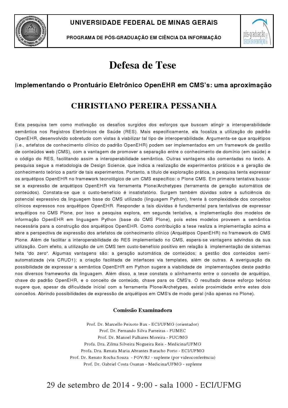 Defesa de Tese Christiano Pereira Pessanha