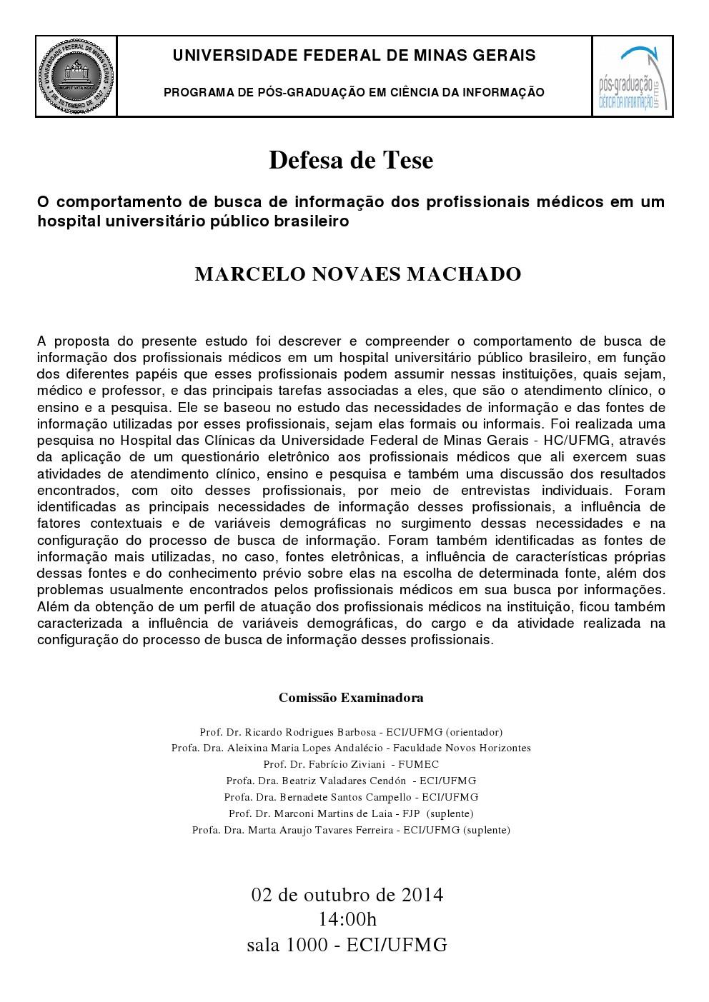 Defesa de Tese Marcelo Novaes Machado