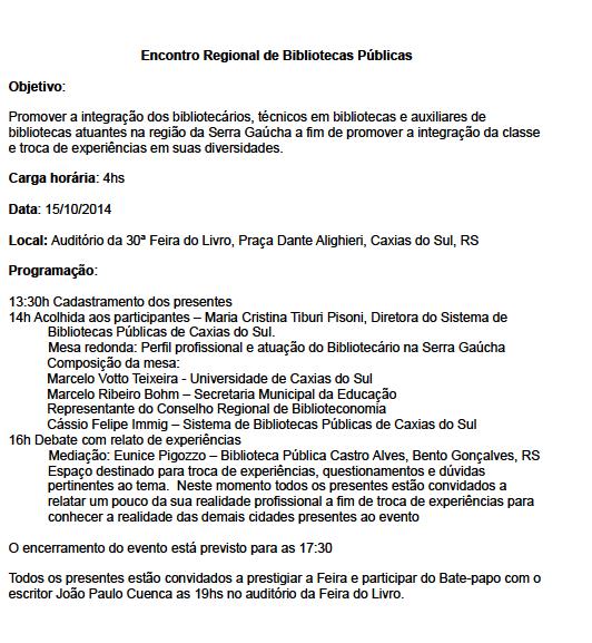 Encontro Regional de Bibliotecas Públicas Caxias do Sul