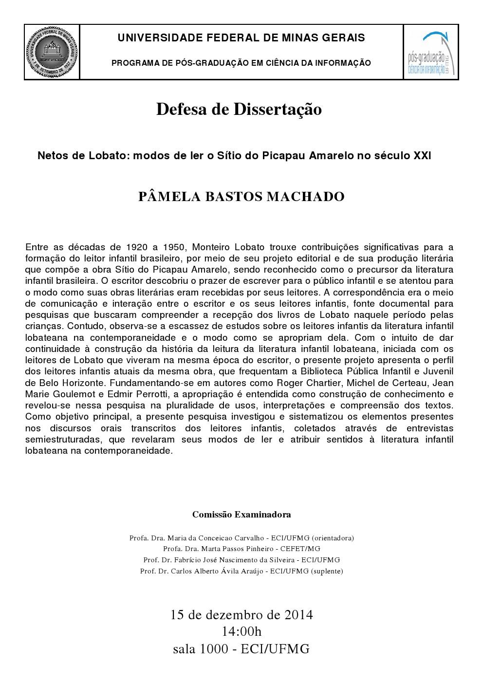 Defesa de Dissertação Pâmela Bastos Machado