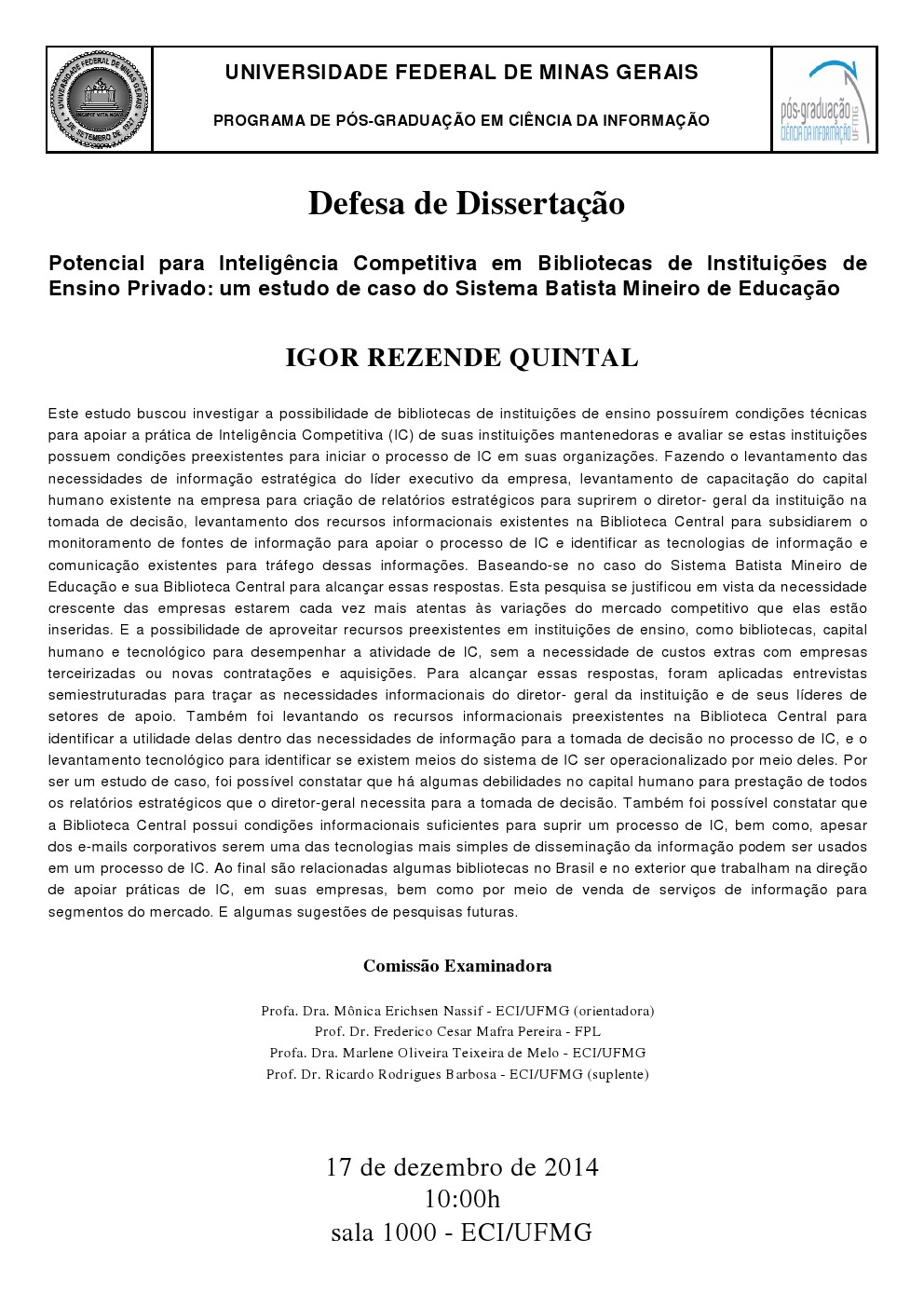 Defesa de Dissertação Igor Rezende Quintal