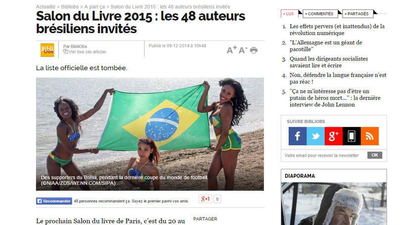 Reprodução de página do site francês Le Nouvel Observateur que usou foto de mulheres de biquíni com estampa do Brasil para falar de autores brasileiros