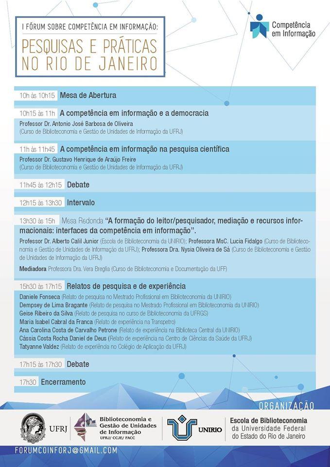 I Fórum sobre Competência em Informação Pesquisas e Práticas no Rio de Janeiro