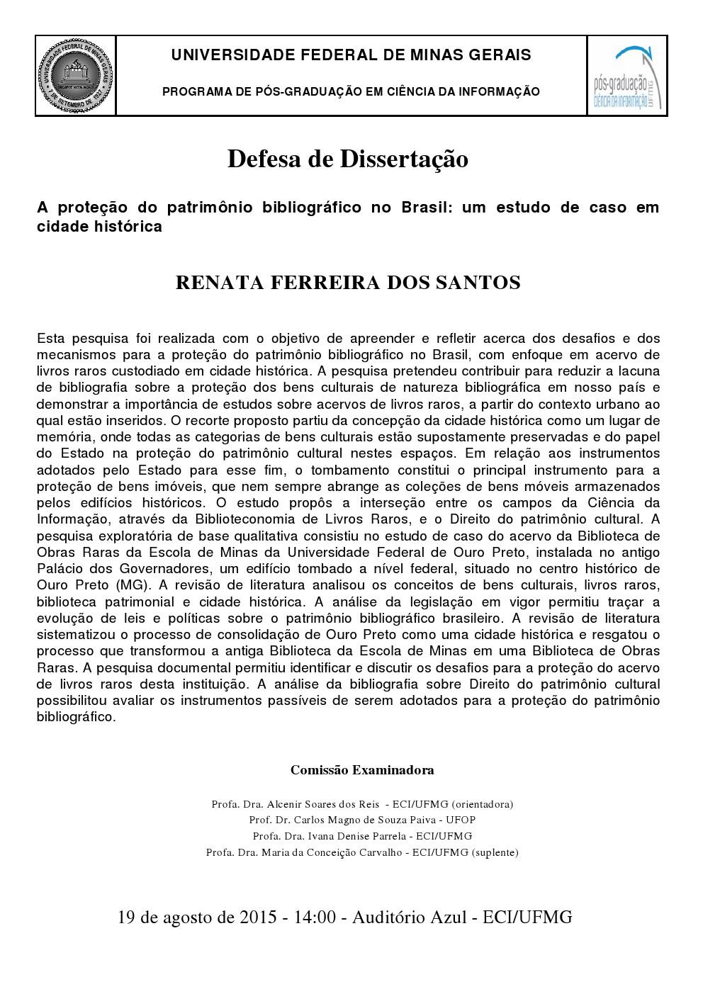 Defesa de dissertação Renata Ferreira dos Santos