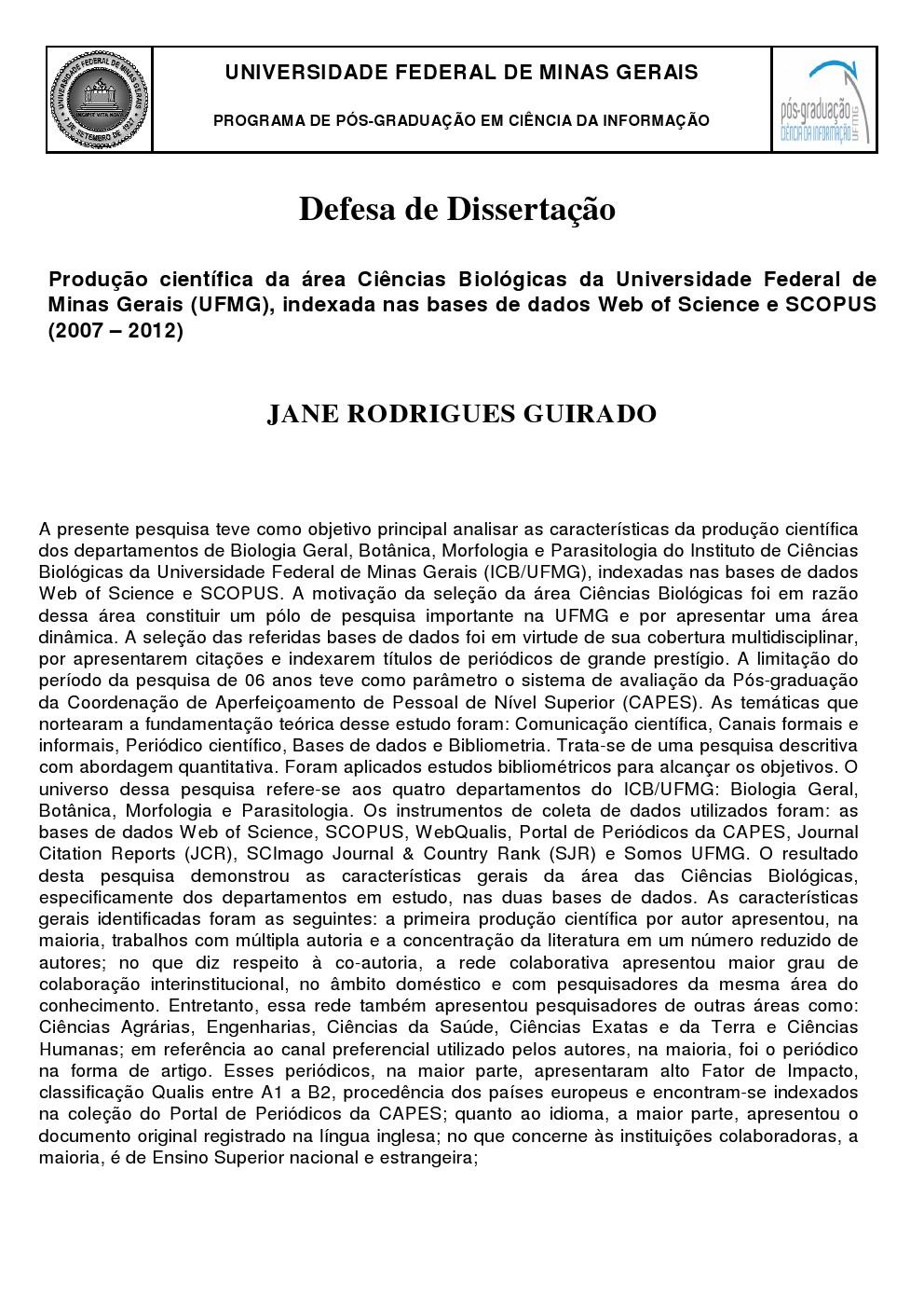 Defesa de Dissertação Jane Rodrigues Guirado