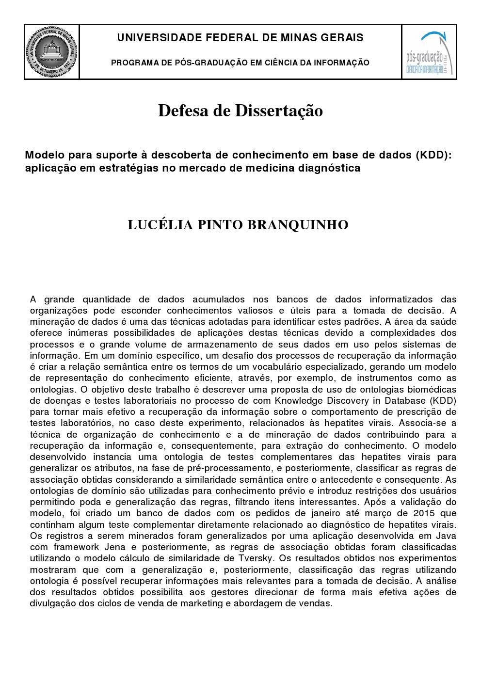 Defesa de Dissertação Lucélia Pinto Branquinho