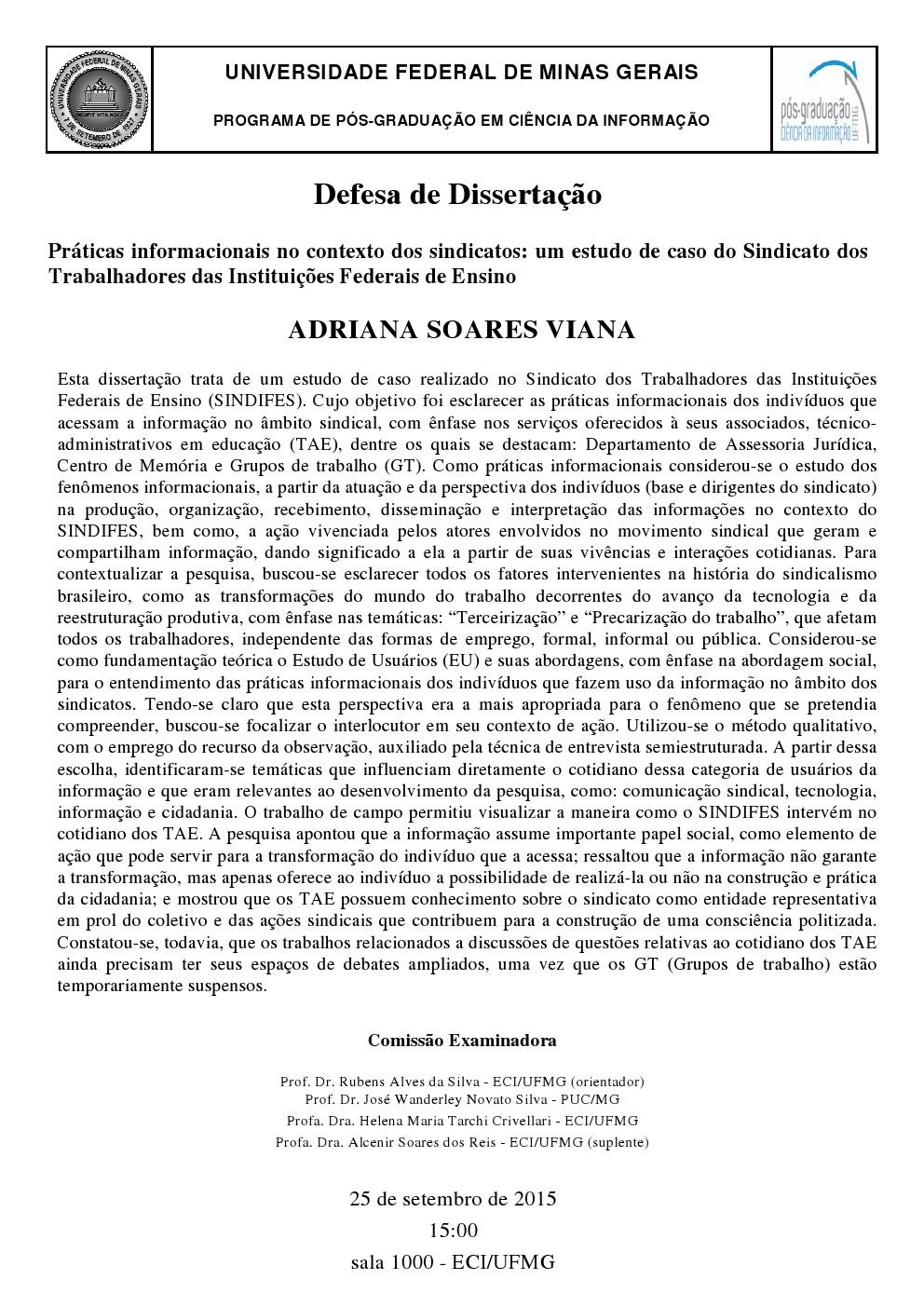 Defesa Dissertação Adriana Soares Viana