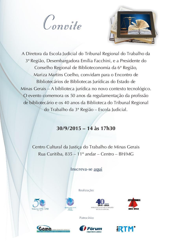 Encontro de Bibliotecários de Bibliotecas Jurídicas do Estado de Minas Gerais