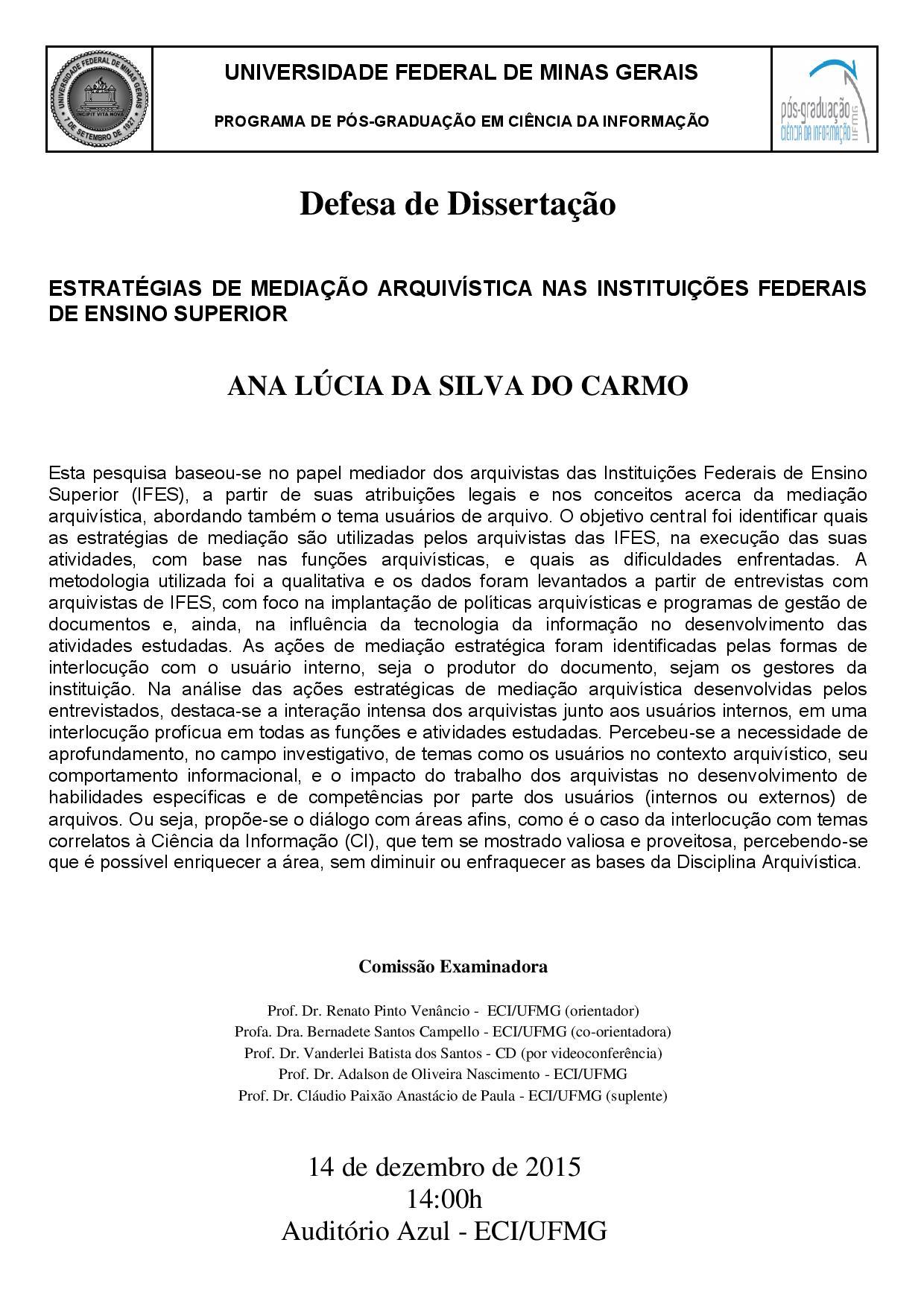 Defesa de Dissertação Ana Lúcia da Silva do Carmo