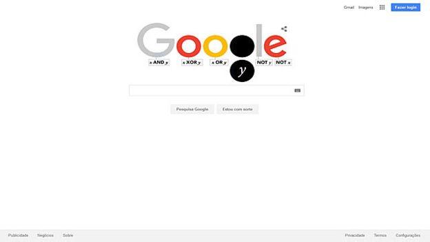 O logotipo do Google ilustra as portas lógicas usadas em computação e que são derivadas das funções de Boole: as letras se acendem baseadas na lógica das portas abaixo delas (Foto: Google)