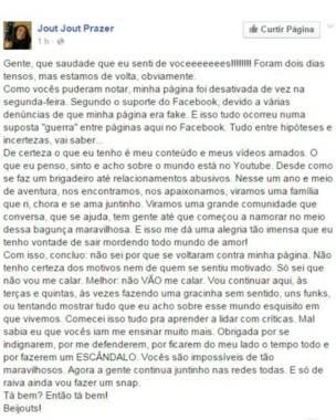 """Jout Jout falou em """"suposta guerra de páginas"""" ao ter sua página restaurada pelo Facebook (Foto: Reprodução/Facebook)"""