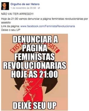 """Nova versão da página """"Orgulho de ser hétero"""" tentava coordenar denúncias a páginas """"inimigas"""" no site (Foto: Reprodução/Facebook)"""