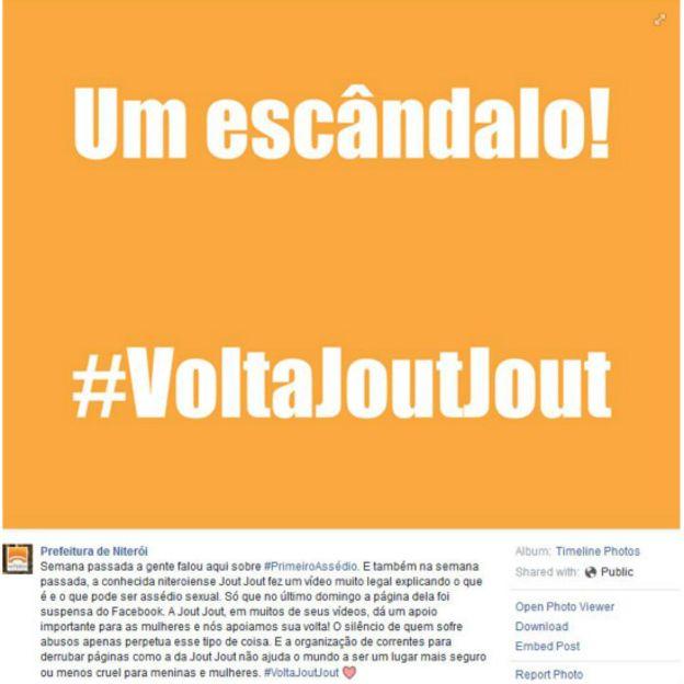 Prefeitura de Niterói, cidade natal de Jout Jout, protestou quando sua página foi tirada do ar (Foto: Reprodução Facebook)