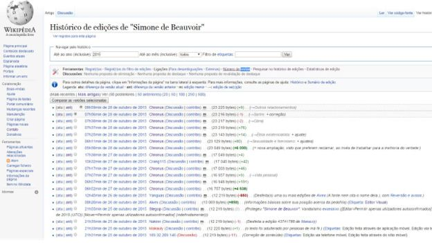 Histórico mostra alterações na página da escritora na Wikipedia (Foto: Reprodução/Wikipédia)