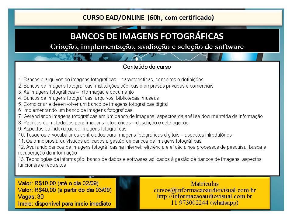 Curso EAD Banco de Imagens Fotográficas