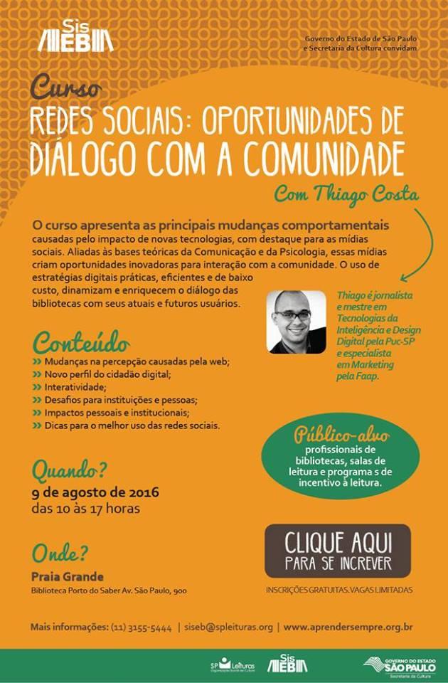 Curso redes sociais oportunidades de diálogo com a comunidade