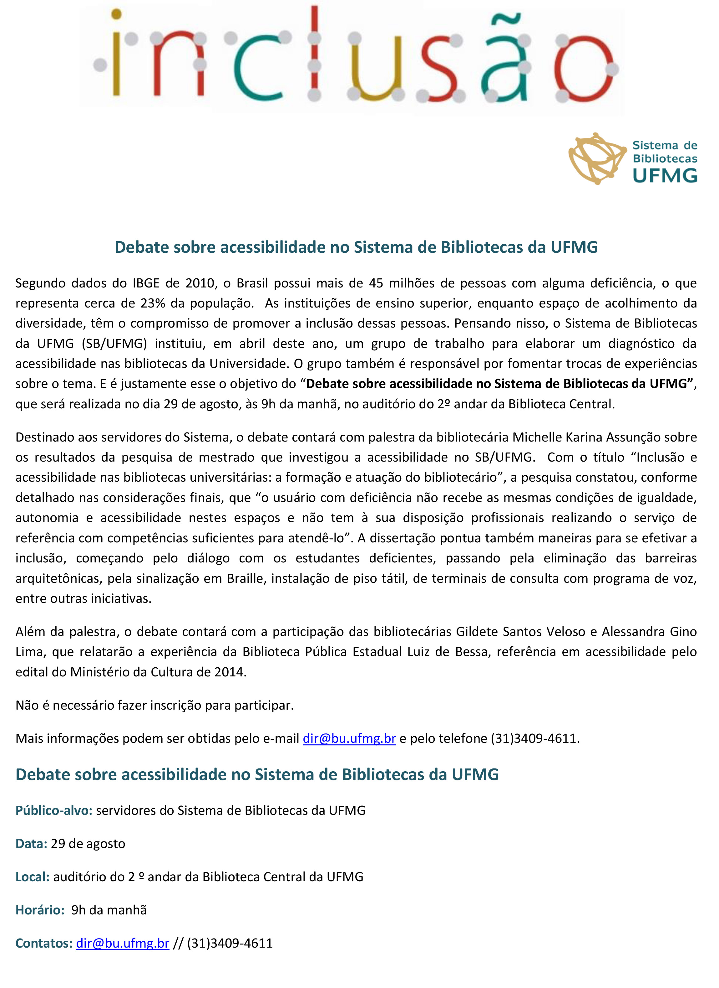 Debate sobre acessibilidade UFMG