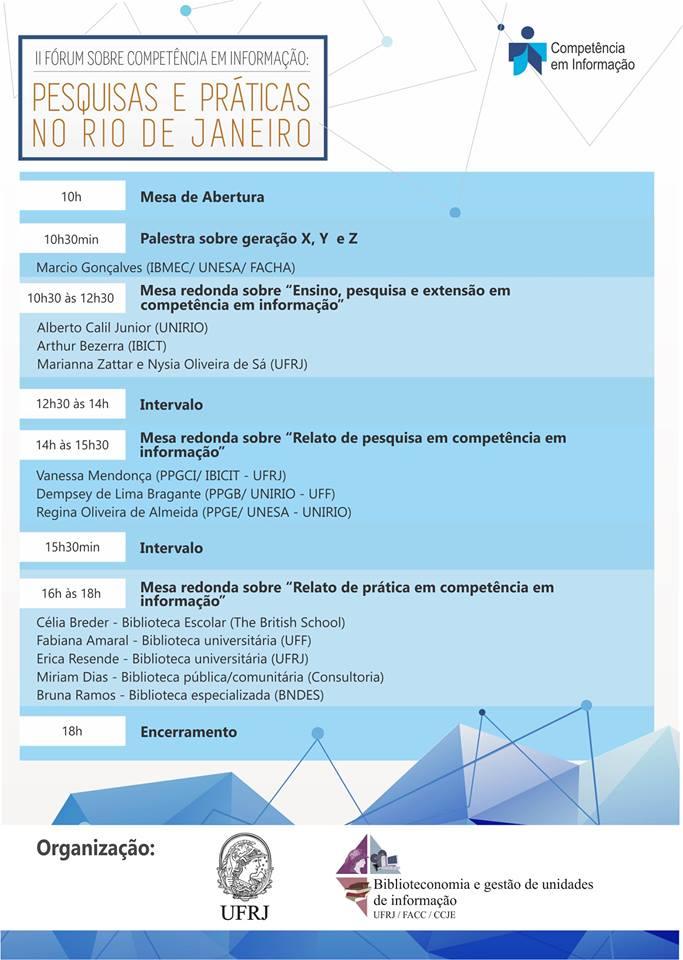 II Fórum sobre Competência em Informação Pesquisas e Práticas no RJ.