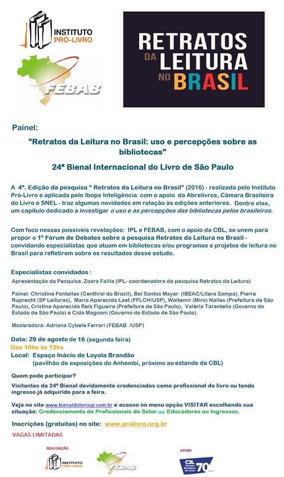 Painel Retratos da Leitura no Brasil uso e percepções sobre as bibliotecas