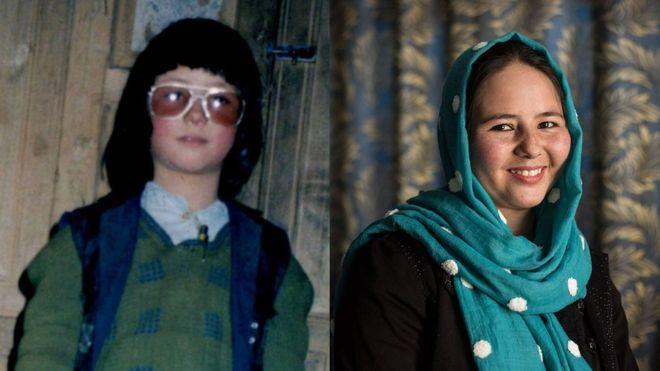 Zahra como 'Mohammed' (à esq) e ela hoje, à direita (Foto: Arquivo pessoal/Joel Van Houdt)