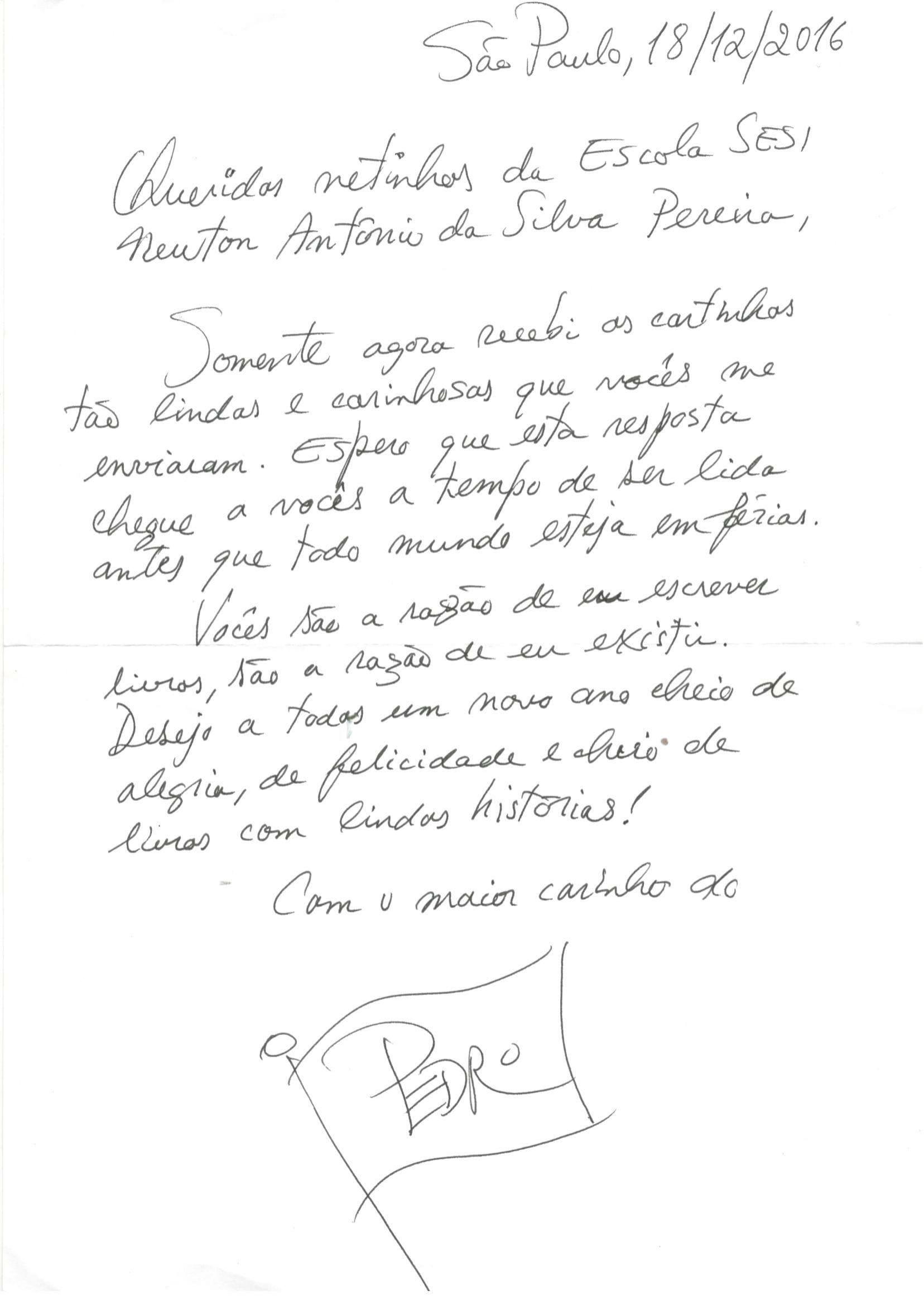 Carta à mão enviada pelo escritor Pedro Bandeira para os alunos do SESI-MG