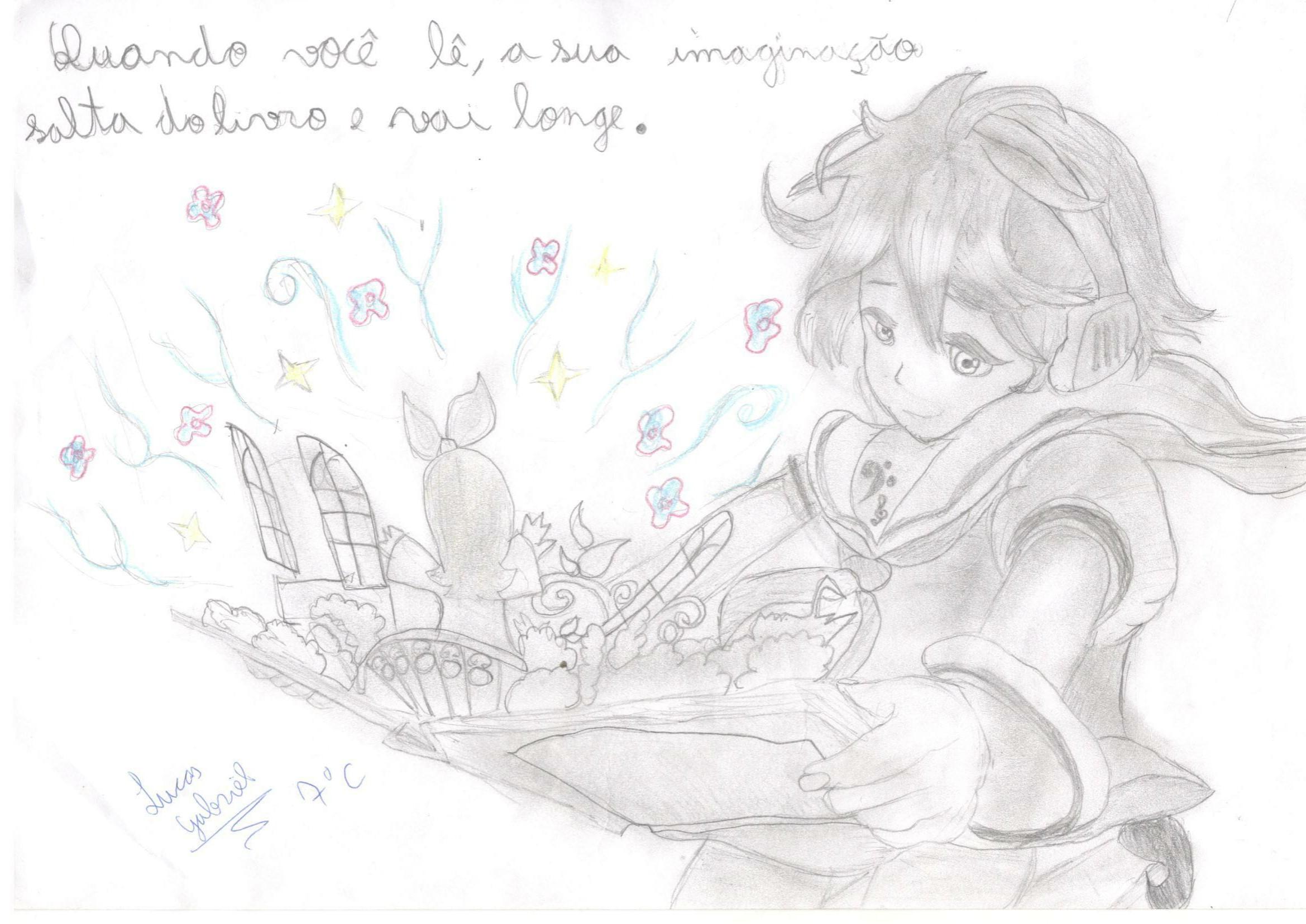 Desenho produzido por aluno do SESI-MG para o escritor Pedro Bandeira