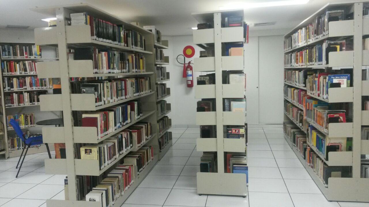 Vista de parte do acervo da biblioteca da ASSEMP (Foto: Fabiane Neves)
