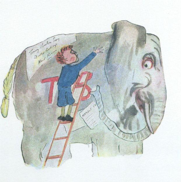 Menino e elefante no livro 'As Aventuras de Tommy' (ed. Piu), escrito e ilustrado por H.G. Wells (Foto: Divulgação)
