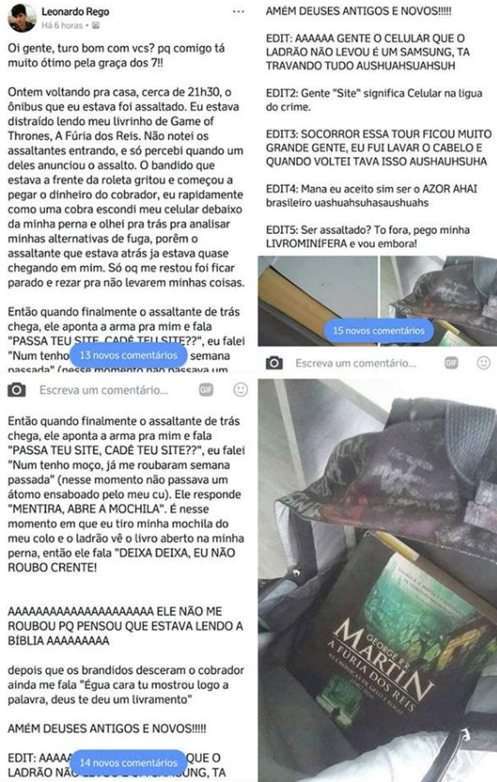 Postagem de Leonardo sobre assalto evitado após livro ser confundido com bíblia já teve mais de 15 mil curtidas (Foto: Reprodução / Facebook)